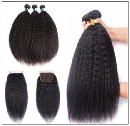 3 Bundles Kinky Straight Virgin Hair With 4x4 Inch Lace Closure img 2-min
