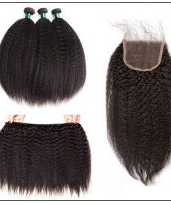 3 Bundles Kinky Straight Virgin Hair With 4x4 Inch Lace Closure img 3-min