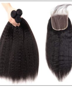 3 Bundles Kinky Straight Virgin Hair With 4x4 Inch Lace Closure img 4-min
