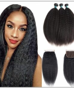 3 Bundles Kinky Straight Virgin Hair With 4x4 Inch Lace Closure img-min