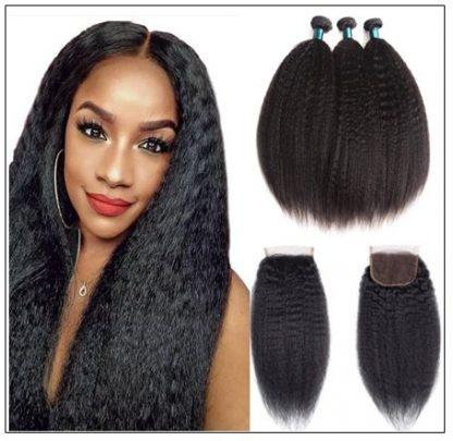 3 Bundles Kinky Straight Virgin Hair With 4x4 Inch Lace Closure img-min