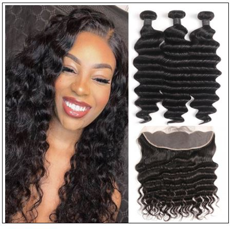3 Bundles Loose Deep Wave Virgin Human Hair With Frontal img-min