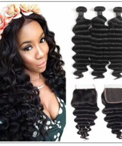 3 Bundles Loose Deep Wave Virgin Human Hair With Lace Closure img-min