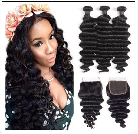 3 Bundles Loose Deep Wave Virgin Human Hair With Lace Closure img-min