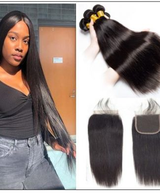 3 Bundles Peruvian Straight Hair Deals with Lace closure img-min