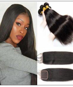 3 Bundles Peruvian Straight Hair Weft With Closure img-min
