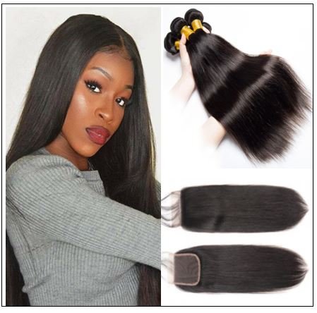 3 Bundles Peruvian Straight Hair Weft With Closure img-min