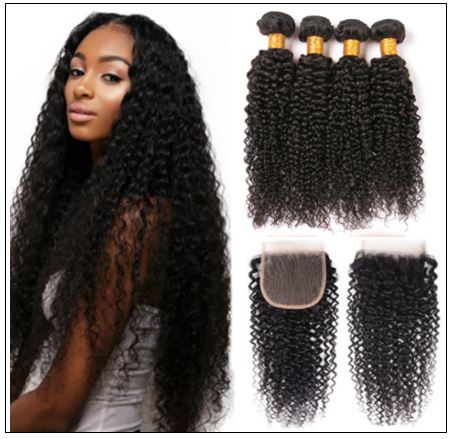 3 Bundles Virgin Hair Kinky Curly With 4×4 Inch Lace Closure IMG-min