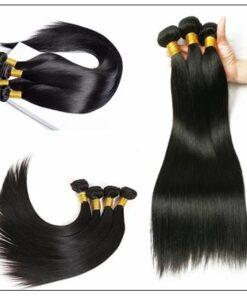3 Bundles and Free Part Pu Scalp Closure Straight Virgin Malaysian Hair Natural Black Color img 2-min