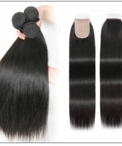 3 Bundles and Free Part Pu Scalp Closure Straight Virgin Malaysian Hair Natural Black Color img 3-min