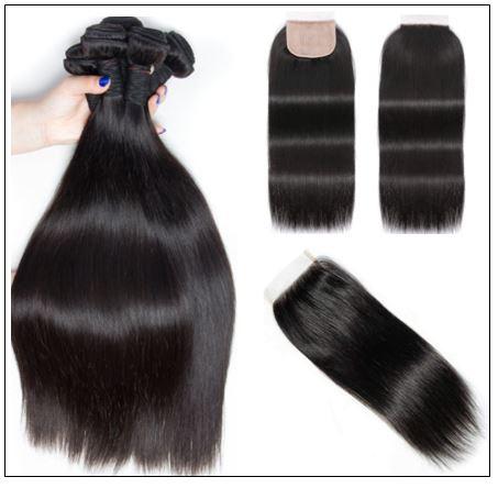 3 Bundles and Free Part Pu Scalp Closure Straight Virgin Malaysian Hair Natural Black Color img 4-min