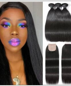 3 Bundles and Free Part Pu Scalp Closure Straight Virgin Malaysian Hair Natural Black Color img-min