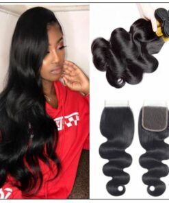 3 Pcs Body Wave Virgin + Human Hair With Lace Closure img-min
