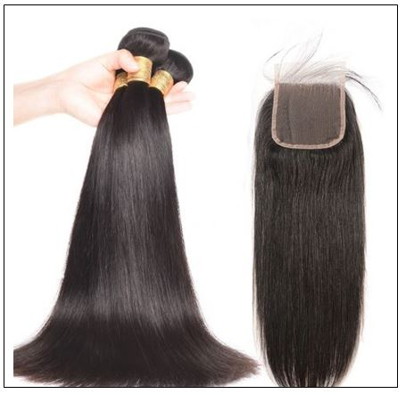 3 bundles Indian straight hair with closure IMG 2-min