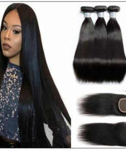 3 bundles Indian straight hair with closure IMG-min