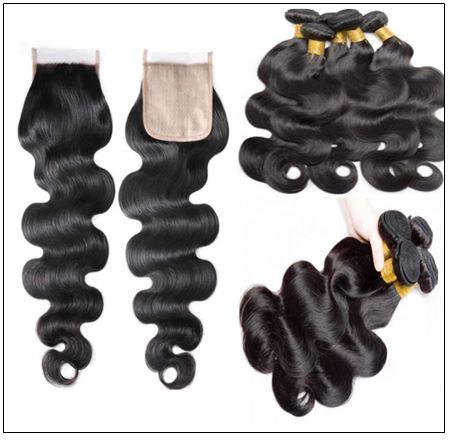 3 bundles body wave with PU skin base closure pieces 4×4 human hair closure natural black img 2