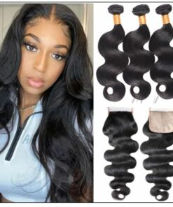 3 bundles body wave with PU skin base closure pieces 4×4 human hair closure natural black img