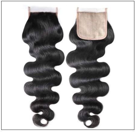 3 bundles body wave with PU skin base closure pieces 4×4 human hair closure natural black img 3