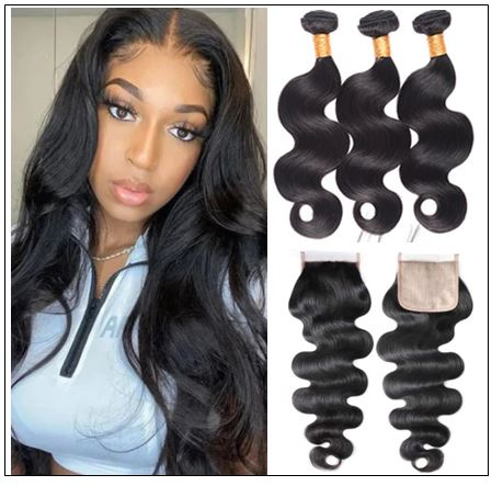3 bundles body wave with PU skin base closure pieces 4×4 human hair closure natural black img