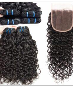 3 bundles brazilian water wave virgin human hair with lace closure img 3-min