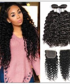 3 bundles brazilian water wave virgin human hair with lace closure img-min