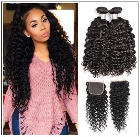 3 bundles brazilian water wave virgin human hair with lace closure img-min