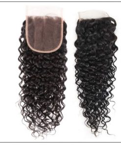 3 bundles peruvian water wave hair weaving with lace closure img 2-min