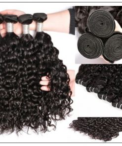 3 bundles peruvian water wave hair weaving with lace closure img 3-min