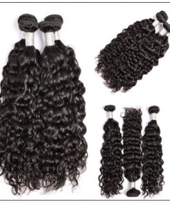 3 bundles peruvian water wave hair weaving with lace closure img 4-min