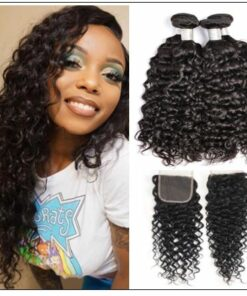 3 bundles peruvian water wave hair weaving with lace closure img-min