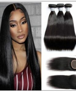 3 bundles raw virgin straight hair with lace closure IMG-min