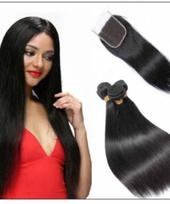 3 bundles unprocessed premium virgin straight hair with lace closure IMG-min