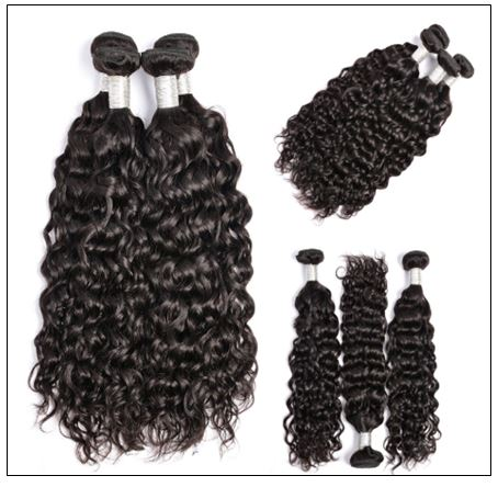 3 bundles water wave virgin with 4×4 inch lace closure free part closure img 2-min