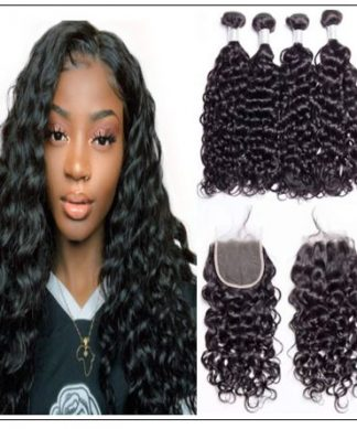 3 bundles water wave virgin with 4×4 inch lace closure free part closure img-min