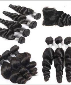 3Pcs Indian Loose Wave Virgin Hair With Closure img 2