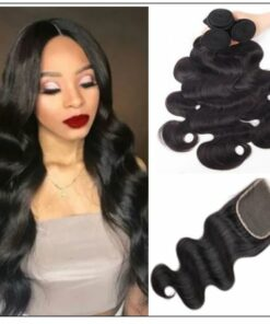 3Pcs Virgin+ Brazilian Body Wave Hair With Lace Closure img-min