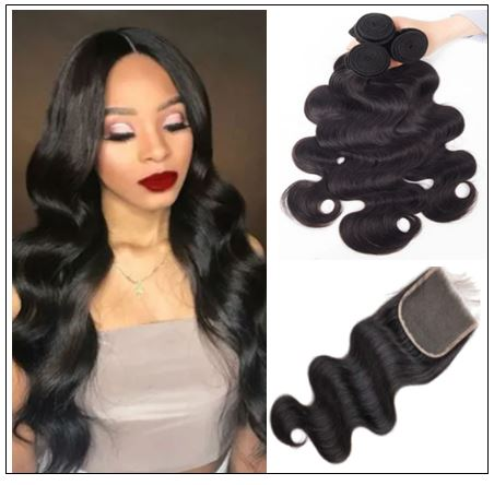3Pcs Virgin+ Brazilian Body Wave Hair With Lace Closure img-min