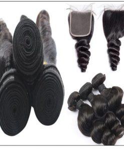 3pcs Indian Loose Wave Virgin Hair With Closure img 4-min