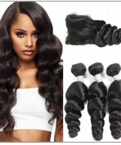 3pcs Indian Loose Wave Virgin Hair With Closure img-min
