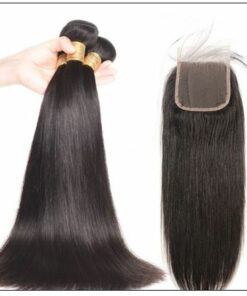3pcs Malaysian straight virgin hair bundles with lace closure IMG 2-min