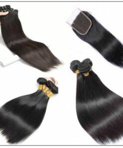 3pcs Malaysian straight virgin hair bundles with lace closure IMG 3-min