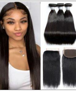 3pcs Malaysian straight virgin hair bundles with lace closure IMG-min