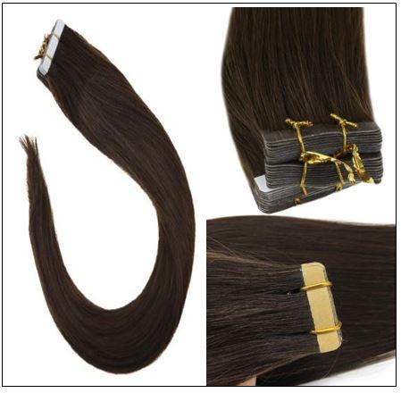 #4 dark brown Straight tape in hair extension 100%virgin hair img 3-min