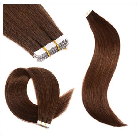 #4 medium brown Straight tape in hair extension 100%virgin hair img 2-min