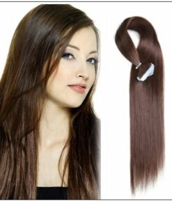 #4 medium brown Straight tape in hair extension 100%virgin hair img-min