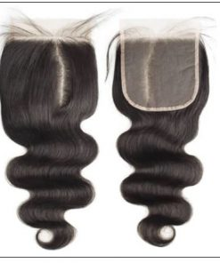 5x5 HD Lace Closure With 3 Bundles Body Wave Human Hair Weaves Transparent Lace Natural img 2-min