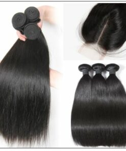 5x5 HD Lace Closure with 3 Bundles Deep Parting Straight Human Hair Weaves With Transparent Lace Closure img 2-min