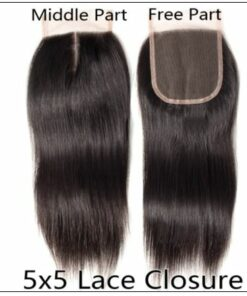 5x5 HD Lace Closure with 3 Bundles Deep Parting Straight Human Hair Weaves With Transparent Lace Closure img 3-min