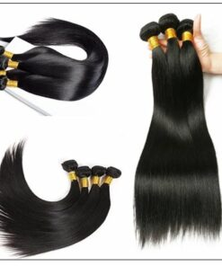 5x5 HD Lace Closure with 3 Bundles Deep Parting Straight Human Hair Weaves With Transparent Lace Closure img 4-min