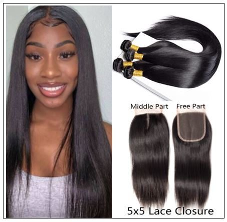 5x5 HD Lace Closure with 3 Bundles Deep Parting Straight Human Hair Weaves With Transparent Lace Closure img-min